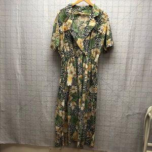 VTG safari jungle tropical print faux wrap dress